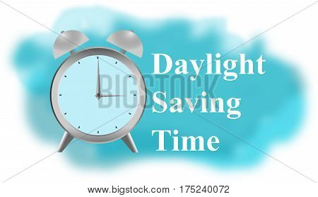 Daylight Saving Time clock on blue background