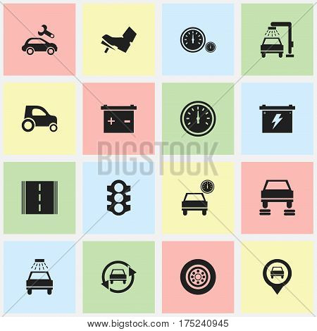 Set Of 16 Editable Car Icons. Includes Symbols Such As Pointer, Accumulator, Car Lave And More. Can Be Used For Web, Mobile, UI And Infographic Design.
