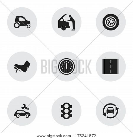 Set Of 9 Editable Vehicle Icons. Includes Symbols Such As Car Fixing, Highway, Stoplight And More. Can Be Used For Web, Mobile, UI And Infographic Design.