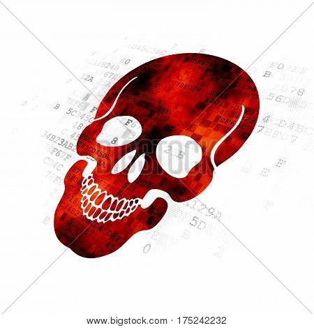Health concept: Pixelated red Scull icon on Digital background