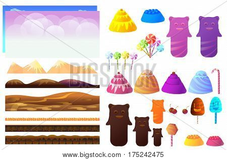 Game sweets pieces, candyland Elements. Vector collection For Video Game On White Background