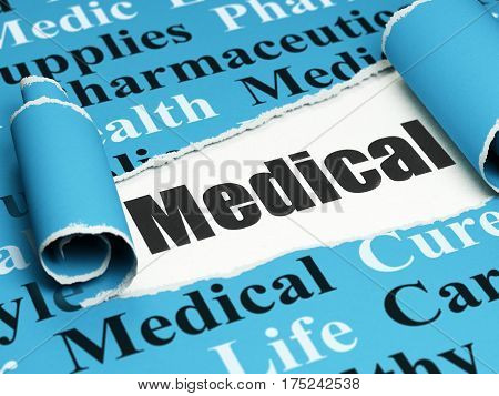 Healthcare concept: black text Medical under the curled piece of Blue torn paper with  Tag Cloud, 3D rendering