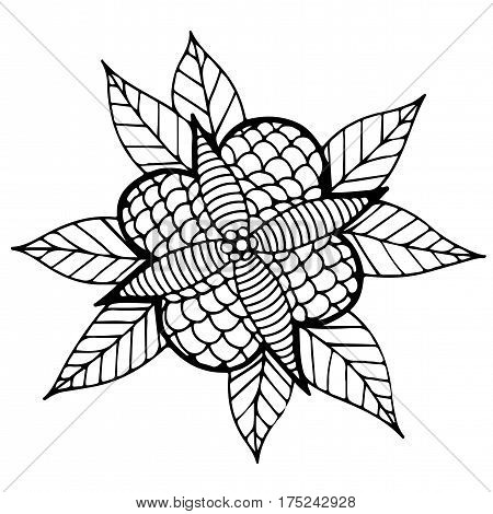 Black line abstract flower with leaves for adult or child coloring book and pages. Mono color black line art element for design cover card invitation posters placards banners.