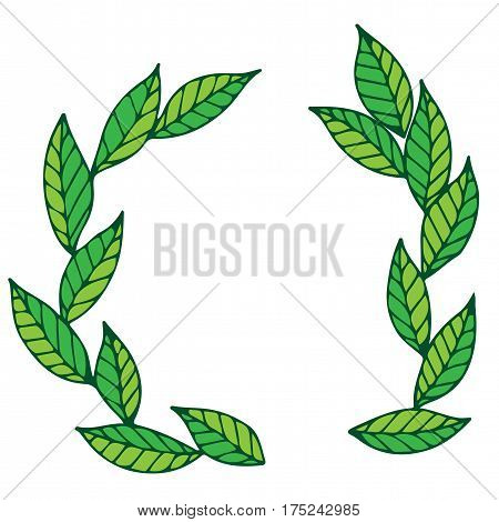 Round wreath with green leaves. Leaf frame for card invitation posters texture backgrounds placards banners printable.