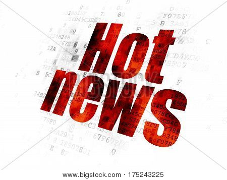 News concept: Pixelated red text Hot News on Digital background