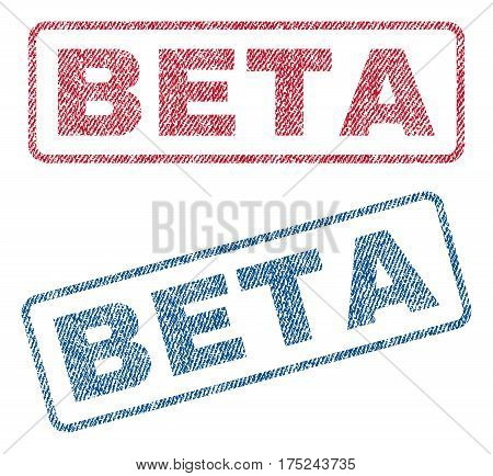 Beta text textile seal stamp watermarks. Blue, red fabric vectorized texture. Vector caption inside rounded rectangular shape. Rubber emblem with fiber textile structure.