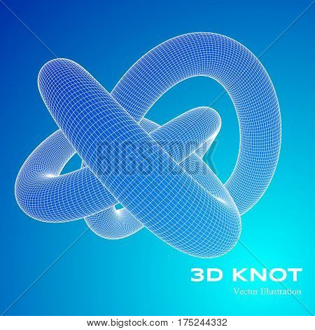3 D vector threefold torus. Abstract protein model. Vector illustration for your science, digital, biological design.