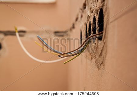 Flat Renovation, Strings Of Interior Installations, Electrician Conducted By Wire To A Specific Sock