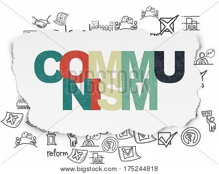 Politics concept: Painted multicolor text Communism on Torn Paper background with  Hand Drawn Politics Icons