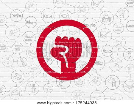 Political concept: Painted red Uprising icon on White Brick wall background with Scheme Of Hand Drawn Politics Icons