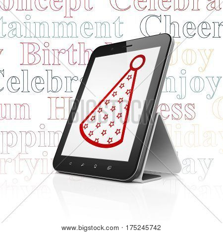 Holiday concept: Tablet Computer with  red Party Hat icon on display,  Tag Cloud background, 3D rendering
