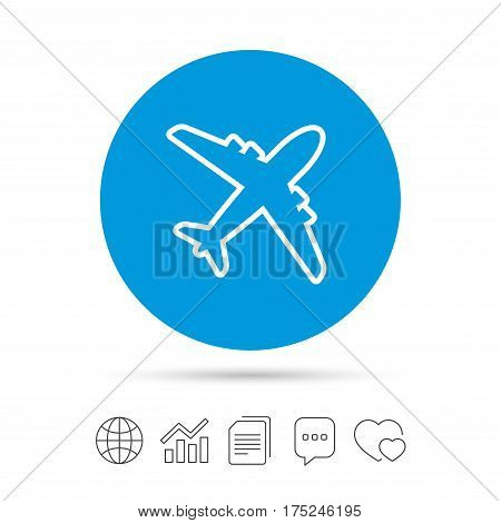 Airplane sign. Plane symbol. Travel icon. Delivery flight flat label. Copy files, chat speech bubble and chart web icons. Vector