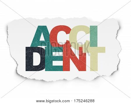 Insurance concept: Painted multicolor text Accident on Torn Paper background