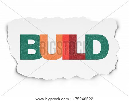 Constructing concept: Painted multicolor text Build on Torn Paper background