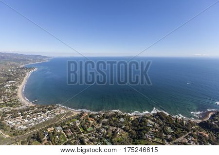 Aerial view of Santa Monica Bay from the Paradise Cove area of Malibu, California.