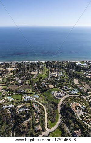 Aerial view of pacific ocean view estates in Malibu, California.