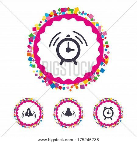 Web buttons with confetti pieces. Alarm clock icons. Wake up bell signs symbols. Exclamation mark. Bright stylish design. Vector