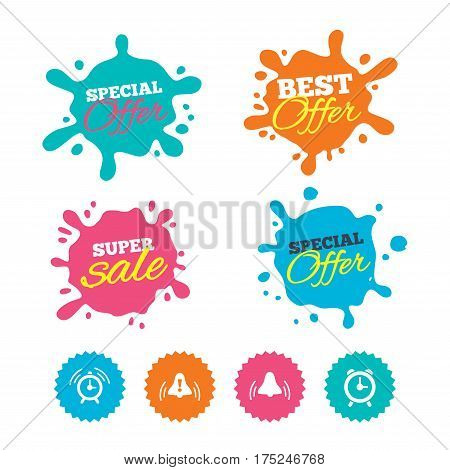 Best offer and sale splash banners. Alarm clock icons. Wake up bell signs symbols. Exclamation mark. Web shopping labels. Vector
