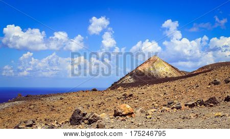 Panoramic View Of Volcano Crater On Vulcano Island, Sicily