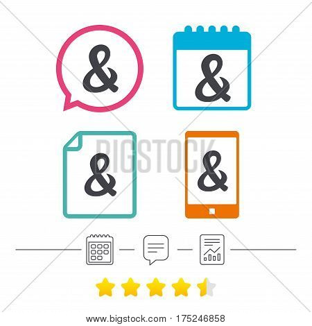Ampersand sign icon. Programming logical operator AND. Wedding invitation symbol. Calendar, chat speech bubble and report linear icons. Star vote ranking. Vector