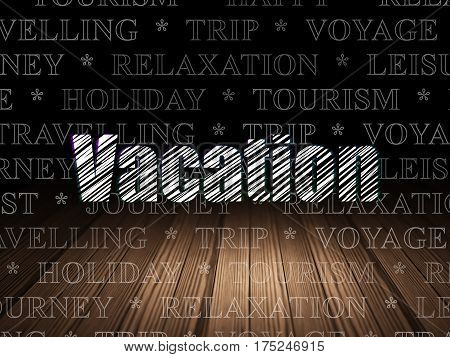 Vacation concept: Glowing text Vacation in grunge dark room with Wooden Floor, black background with  Tag Cloud
