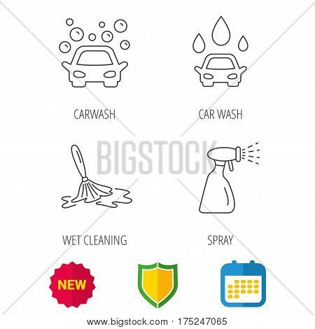 Car wash icons. Automatic cleaning station linear signs. Wet cleaning and spray flat line icons. Shield protection, calendar and new tag web icons. Vector