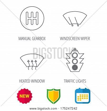 Traffic lights, manual gearbox and wiper icons. Heated window, manual transmission linear signs. Washing window icon. Shield protection, calendar and new tag web icons. Vector