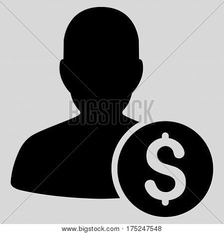 Investor vector pictograph. Illustration style is a flat iconic black symbol on light gray background.