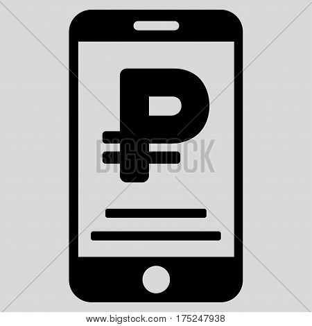 Rouble Mobile Payment vector icon. Illustration style is a flat iconic black symbol on light gray background.