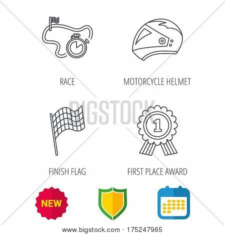 Race flag, motorcycle helmet and award medal icons. Start or finish flag linear sign. Shield protection, calendar and new tag web icons. Vector