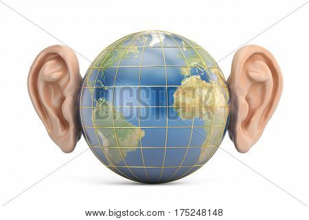 Earth with ears 3D rendering isolated on white background