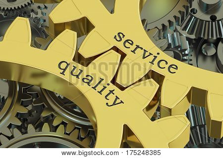 service quality concept on the gearwheels, 3D rendering