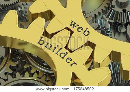 Web Builder concept on the gearwheels 3D rendering