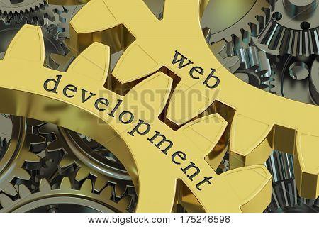 web development concept on the gearwheels 3D rendering
