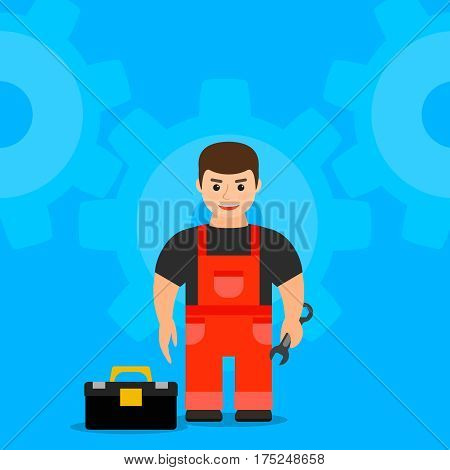 young male mechanic holding a wrench. profession specialty service. vector illustration.