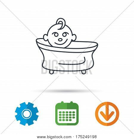 Baby in bath icon. Toddler bathing sign. Newborn washing symbol. Calendar, cogwheel and download arrow signs. Colored flat web icons. Vector