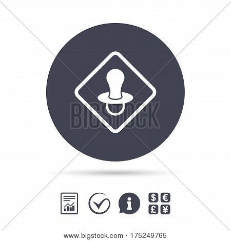 Baby on board sign icon. Infant in car caution symbol. Baby pacifier nipple. Report document, information and check tick icons. Currency exchange. Vector