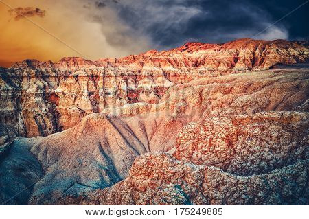 Badlands Scenery South Dakota. Beautiful Western South Dakota Landscape During Sunset. Near Rapid City United States.