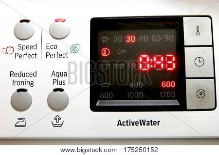 Washing Machine Control Panel, Heat Set To 30 Degrees And On The