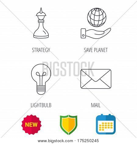 Strategy, save planet and mail envelope icons. Lamp lightbulb linear sign. Shield protection, calendar and new tag web icons. Vector
