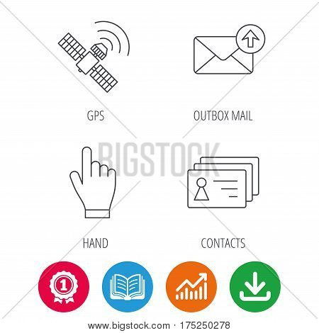 Hand pointer, contacts and gps satellite icons. Outbox mail linear sign. Award medal, growth chart and opened book web icons. Download arrow. Vector