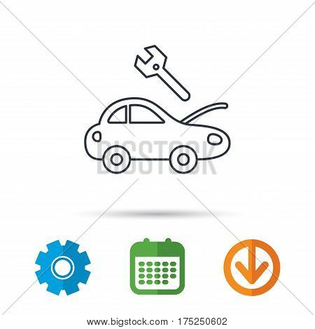 Car service icon. Transport repair with wrench key sign. Calendar, cogwheel and download arrow signs. Colored flat web icons. Vector