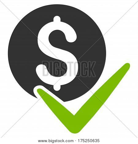 Accept Payment vector pictogram. Illustration style is a flat iconic bicolor eco green and gray symbol on white background.