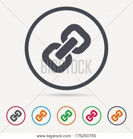 Chain icon. Internet web hyperlink symbol. Round circle buttons. Colored flat web icons. Vector