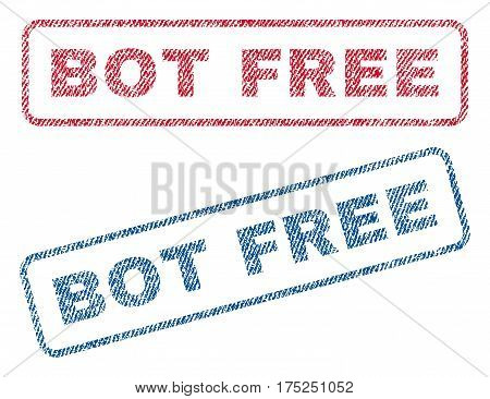 Bot Free text textile seal stamp watermarks. Blue, red fabric vectorized texture. Vector tag inside rounded rectangular shape. Rubber sign with fiber textile structure.