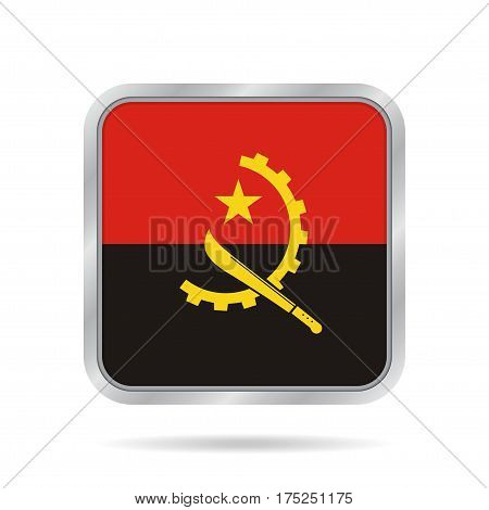 National flag of Angola. Shiny metallic gray square button with shadow.