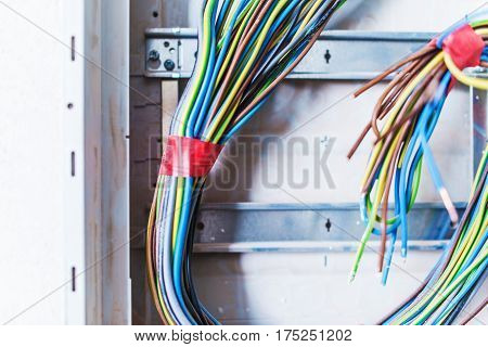 Unfinished Electric Box with Cables. Electric Works Concept Photo.