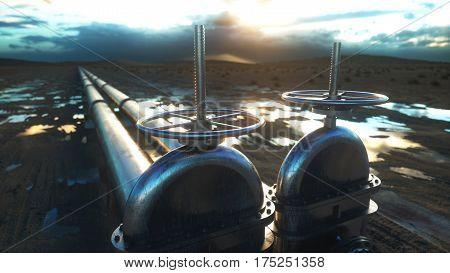 oil, gas valve. Pipeline in desert. Oil concept 3d rendering