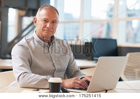 Portrait of a confident mature businessman wearing casual clothes sitting at a desk in a modern office working on a laptop