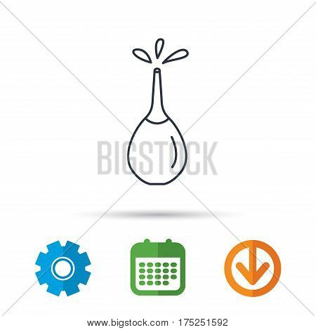 Medical clyster icon. Enema with water drops sign. Calendar, cogwheel and download arrow signs. Colored flat web icons. Vector
